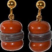 Kitsch Hamburger Dangle Clip Earrings