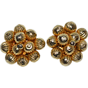 1950s Bauble Bead Cluster Goldtone Clip Earrings