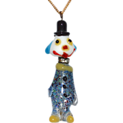 Rare Murano Confetti Art Glass & Rhinestone Clown Pendant