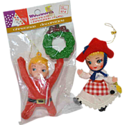 Set of 2 Flocked Dutch Girl & Woolworth Pixie Christmas Ornaments