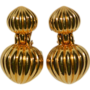 Premier Designs Large Ribbed Goldtone Clip Earrings