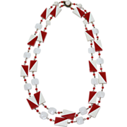 West Germany Red/White Geometric Bead & White Square Glass Necklace