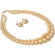 Simulated Double Strand Pearl Necklace & Earrings Set