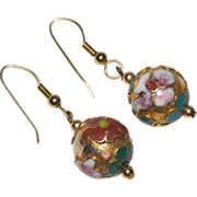 Chinese Cloisonne Enamel Flower Gilded Dangle Earrings