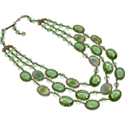 Triple Strand Oval Green Glass Bead Bib Necklace