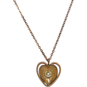 Krementz Cultured Pearl Gold Plate Heart Pendant Necklace