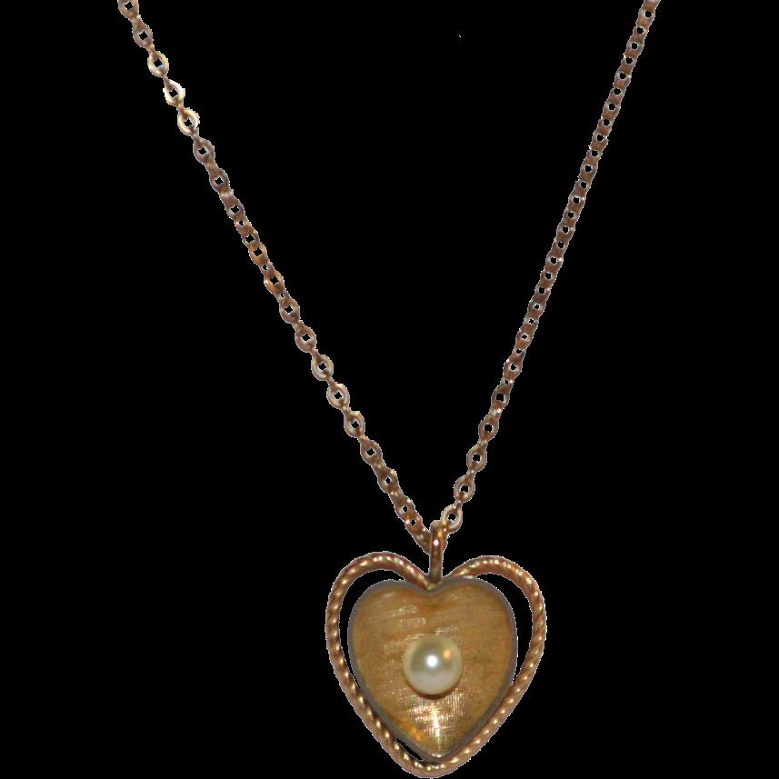 krementz cultured pearl gold plate pendant necklace