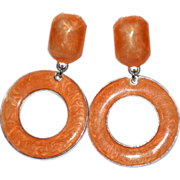 Large Orange Enamel Hoop Dangle Clip Earrings
