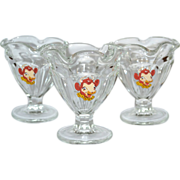 Set of 3 Elsie the Cow Ruffled Glass Ice Cream Dishes