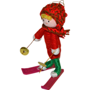 1960s Handcrafted Crochet Elf/Kid on Skis Christmas Ornament