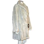 Glenoit Silver Gray Faux Mink Fur Mid-Length Coat