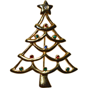 AAI Signed Rhinestone Christmas Tree Pin/Brooch