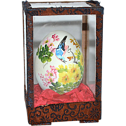 Artist Signed Hand-painted Blue Jay w/ Flowers on Egg in Glass Case