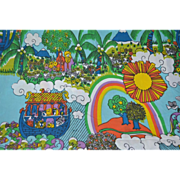 Awesome Pop Art Noah's Ark Blue Fringe Twin Bedspread/Tablecloth