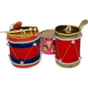Set of 3 Faux Pearl & Velvet Drum Christmas Ornaments
