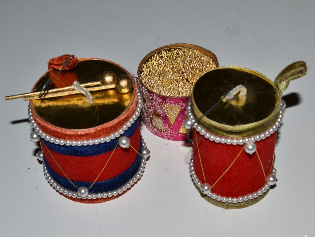 Set of 3 Faux Pearl & Velvet Drum Christmas Ornaments from ...