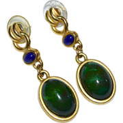 Gorgeous Faux Malachite & Lapis Pierced Dangle Earrings
