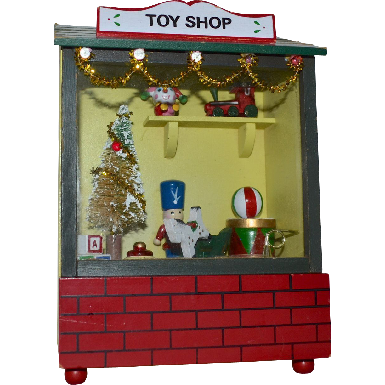Christmas Toy Store : Adorable christmas toy shop glass window wood music box