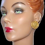 Big & Bold Faux Roman Coin Goldtone Earrings