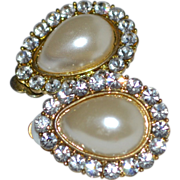 Large Faux White Pearl & Rhinestone Pear-Shaped Clip Earrings