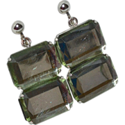 Faceted Lucite Double Chunk Dangle Clip Earrings