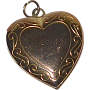 Engraved Heart Locket Goldtone Pendant or Charm