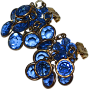 Pearlcraft Blue Austrian Crystal Cluster Dangle Clip Earrings