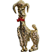 Red Enamel Bow Goldtone Poodle Pin/Brooch
