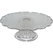 Beautiful Etched Leaf & Scalloped Edge Glass Pedestal Cake Stand