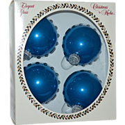 Krebs Elegant Glass 'Bubble Gum Velvet' Large Blue Christmas Ornaments in Original Box