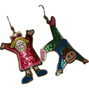 Two Hands Whimsical Boy & Girl Dangle Earrings