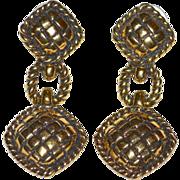Avon Signed Cross-Hatch Pierced Dangle Earrings