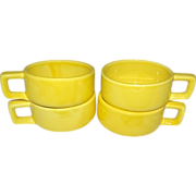 1962 Holt Howard Set of 4 Bright Yellow Soup Mugs