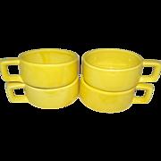 1962 Holt Howard Set of 4 Bright Yellow Soup Mugs
