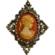 Gerry's Signed Ornate Cameo Antiqued Silvertone Pendant or Brooch/Pin