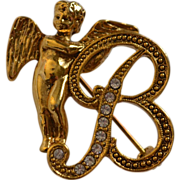 1928 Jewelry 'B' Monogram Rhinestone Angel Brooch/Pin