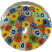 Colorful Millefiori Cane Glass Paperweight
