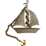 1970s Very Large Textured Sailboat Ship with Rope Chain Anchor Brooch/Pin/Pendant