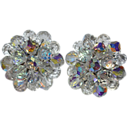 1950s Aurora Borealis Crystal Cluster Earrings