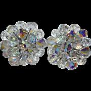 1950s Aurora Borealis Crystal Cluster Earrings