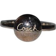 Retired Sterling Coach Signature Button Ring ~ Size 6.25