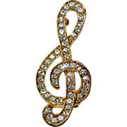 Sparkly Rhinestone Treble Clef Music Note Pin/Brooch