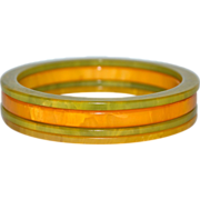 Set of 4 Butterscotch Yellow & Swirled Green Bakelite Bangle Spacer Bracelets