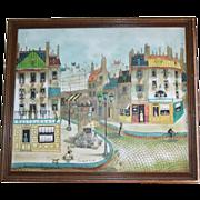 Large Listed French Artist Robert Scott Original Oil Street Scene Impressionist Painting