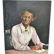Listed Artist Robert Neal (Student of Hale Woodruff) African-American Lady Portrait Oil Painting