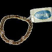 Richelieu Classic Faux Pearl Goldtone Link Bracelet w/ Original Tag