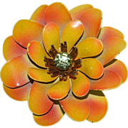 1960s CORO Golden Enamel & Rhinestone Flower Brooch/Pin