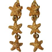Bumpy Textured Starfish Goldtone Clip Earrings