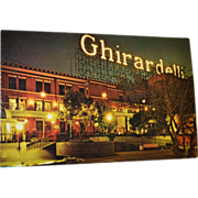 1960s Ghirardelli Square San Francisco, CA Color Postcard Night View w/ Neon Sign