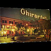 1960s Ghirardelli Square San Francisco, CA Color Postcard Night View w/ Neon Sign